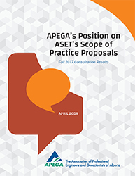 The cover of APEGA's Position on ASET's Scope of Practice Proposals