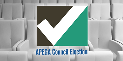 Logo for APEGA Council Election in front of rows of seats